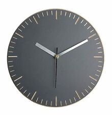 Wall clock - grey handmade painted wood carved with minute dashes