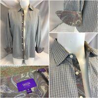 Tallia Flip Cuff Shirt 15.5 33 Tan Purple Check Cotton Paisley Cuff YGI H8-533