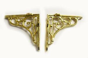 "5"" PAIR OF BRASS ON IRON Victorian scroll ornate shelf support wall brackets"