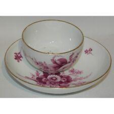 Antique 18th Meissen Porcelain Bowl & Saucer Flower Pattern