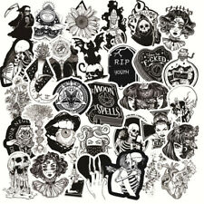 50pcs Scary White Black Gothic Halloween Stickers Laptop Wall Decal Sticker Pack