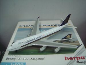 """Herpa Wings 500 Singapore Airlines SQ B747-400 """"1990s color - Megatop"""" 1:500 NG"""