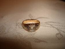 VTG EXQUISITE 14K YELLOW GOLD MENS DIAMOND SIGNET PINKY RING BLU - CREST Size 10