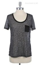Sheer Burnout Top Leopart Print Chest Pocket Short Sleeve Tee T Shirt S M L