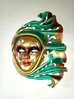 Acqua  - Maschera veneziana artigianale in ceramica e cuoio