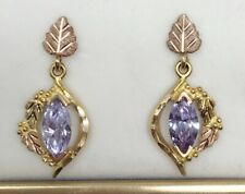 Mt Rushmore 10K Black Hills Gold Leaves and Grapes w/ Large Amethyst Earrings