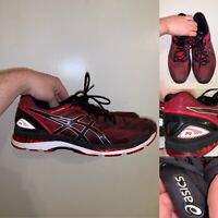 Asics Gel Nimbus 19 Running Shoes Mens Size 15 Red Black Lace Up Reflective Logo
