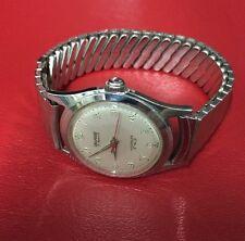 Mens Vintage Swiss 17 Jewels Incabloc Delmark Manuel Steel Waterproof Wristwatch