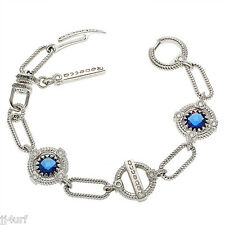 Rebecca Jewelry, 2.82CTW Hydro Blue Sapphire Rope Bracelet, 925 Sterling Silver