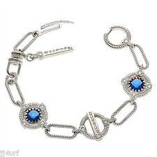 Rebecca Jewelry, 2.82CTW Hydro Blue Sapphire Rope Bracelet, 925 Sterling Silver