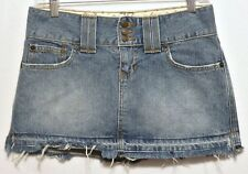 Abercrombie & Fitch Ladies Faded Blue Denim Zip and Button Front Skirt - Size 0