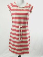 Hanna Andersson Dress Sz M Womens Drawstring Striped Pink Beige Knit Shirt