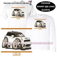 Mini Cooper Model Gold Lines Graphic DigiRods / Koolart Cartoon Car T Shirt S-5X