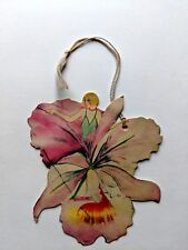 Vintage Bridge Game Tally -- Woman Coming out of Orchid Flower