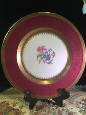 RAVENSWOOD BONE CHINA Magenta Dinner Plate Gold Encrusted Rim, Floral Center