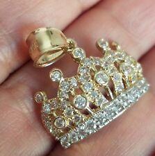 14K Yellow Gold man made diamond Crown pendant charm