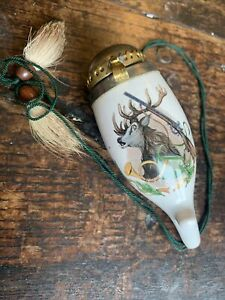19c China Smoking Pipe Bowl Stag With Antlers Gun & Hunting Horn Transfer Print
