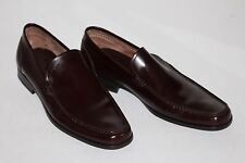 Ferragamo 12 D Brown Leather Loafers Logo Rubber Outsoles Slip On $540