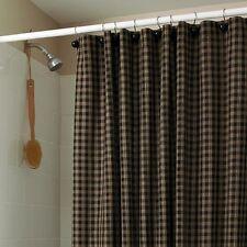 Primitive Country Black Sturbridge Shower Curtain 72x72 Plaid Cotton Farmhouse