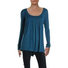 Free People Womens Love Valley Blue High-Low Shirt Blouse Tunic L BHFO 4248