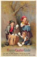 Easter Postcard Children in the Woods Collecting Eggs Bunny Rabbit~127002