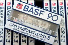 BASF CR-E II 90 HIGH BIAS TYPE II BLANK AUDIO CASSETTE - BIG WINDOW 1985