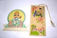 2 BEAUTIFUL VTG 1920S PAPER EPHEMERA 1 CUPID TALLY, 1 FAIRY BRIDGE TALLY, CRAFTS