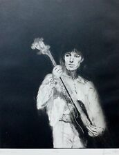 """RONNIE WOOD """" Bill Wyman """" HAND SIGNED ROLLING STONES Drypoint etching 1988"""