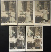 French Set of 5 AVE MARIA - Child, Holy Mary Mother of God Pray for us c1905