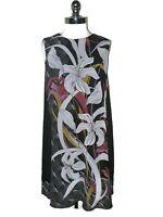 GABBY SKYE Plus Size 16W Shift Dress Black Gray Floral Sleeveless Knee Length