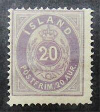 nystamps Iceland Stamp # 13a Mint OG H $1100 F26y750