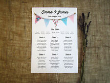 Fabric bunting wedding table seating plan A3 / vintage / village fete/ rustic