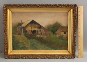 19thC Antique Impressionist Country Barn Farm Oil Painting & Gold Gilt Frame NR