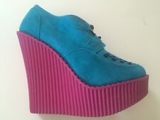 New TUK Wedge Platform Creeper Suede Pink Turquoise Blue Shoe Bootie Sz Us9 Uk7