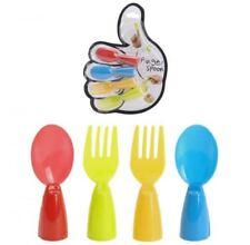 4 piezas plástico novedad Colorido Dedo Comida CUCHARAS TENEDORES