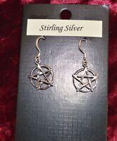 Sterling Silver Pentacle Earrings Pagan/Wiccan/Druid/Gothic