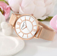Uhr Armbanduhr Analog Modisch  Rund Watch Damen Quarz  Rotgold Rosegold Band