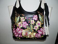 WOMEN'S SHARIF BLACK & WHITE LEATHER EMBROIDERED B'FLIES FLOWERS PURSE