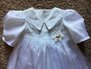 christian baby Blessing Naming Gown Dress NWT Formal White Sheer Appliqué 6-18 M