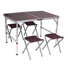 Tavolino da campeggio pieghevole con 4x sedie alluminio+MDF