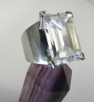 Vintage Sterling Silver Emerald Cut Rock Quartz Crystal Ring England Hallmark