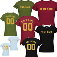 Custom Personalized Name & Number Gold Print Women's football team t shirts