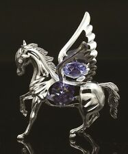SILVER PLATED PEGASUS ORNAMENT FIGURINE STUDDED W/ SWAROVSKI CRYSTAL ELEMENTS