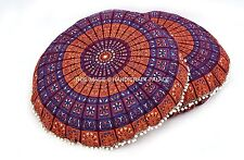 2 PC Ethnic Round Mandala Floor Pillow Cover Cotton Cushion Cover Handmade Throw