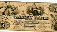 "$5 ""VALLEY BANK"" (MARYLAND) 1800'S $5 ""VALLEY BANK"" $5 (MARYLAND) CRISPY!!! NICE"