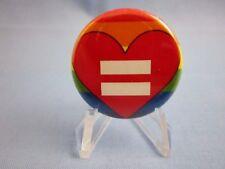 GAY EQUALS LOVE ! PINBACK  GAY / LESBIAN PRIDE BUTTON  ( NICE PIN )
