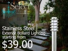 Lora, 304 Stainless steel Exterior Bollard lights, IP44 Weatherproof. ON SALE!