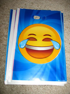 7 New Emoji Party Favor Treat Candy Goodie Birthday Plastic Bags Laughing Tears