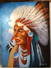 """Original Oil On Canvas Native American Indian Chief By W. Ham Large 48"""" X 36"""""""