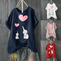 Women Casual Plus Size Short Sleeve Cotton Linen Print Blouse Tunic Tops T-Shirt